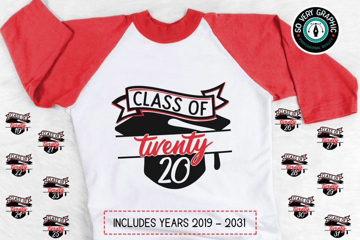 Class of 2019 thru 2031 Graduation Cap SVG Cut File BUNDLE