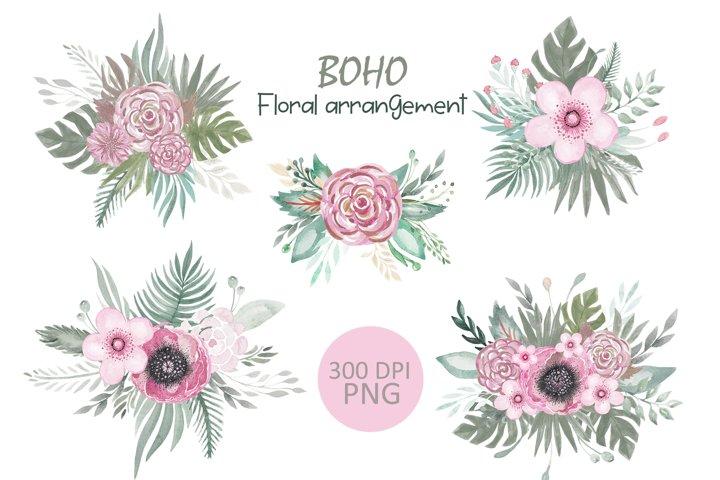 Boho Floral bouquet clipart.