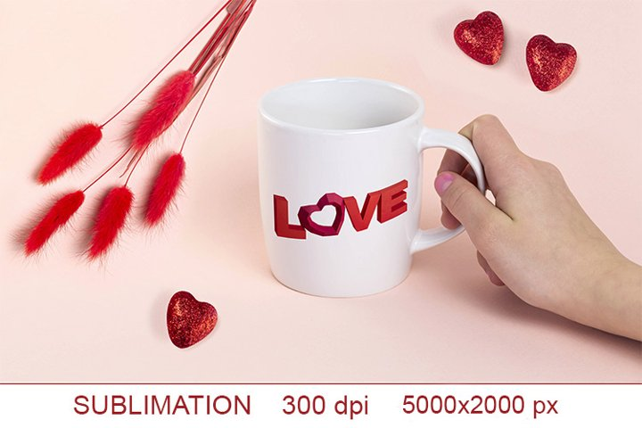 3-D word love made of paper, PNG Sublimation design