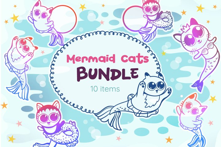 Mermaid Cats Bundle - 10 SVG cut files