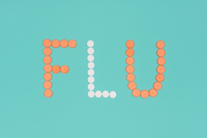 Medical background with pills. Flu season concept