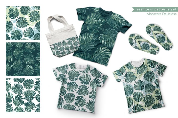 Tropical Seamless Patterns Monstera Deliciosa