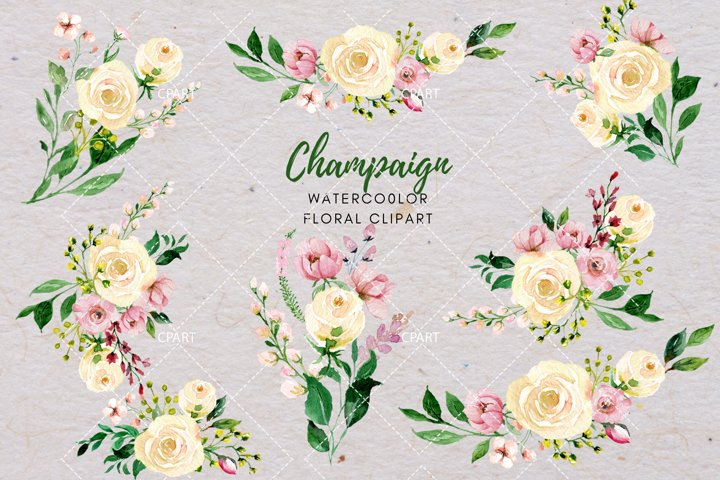 Watercolor Floral, Champaign Ivory Rose Bouquets