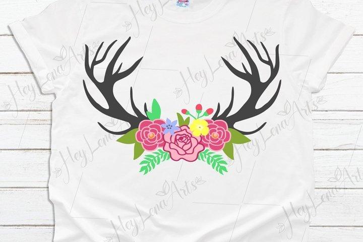 Deer Antlers svg, Floral Wreath svg, Svg Files for Cricut