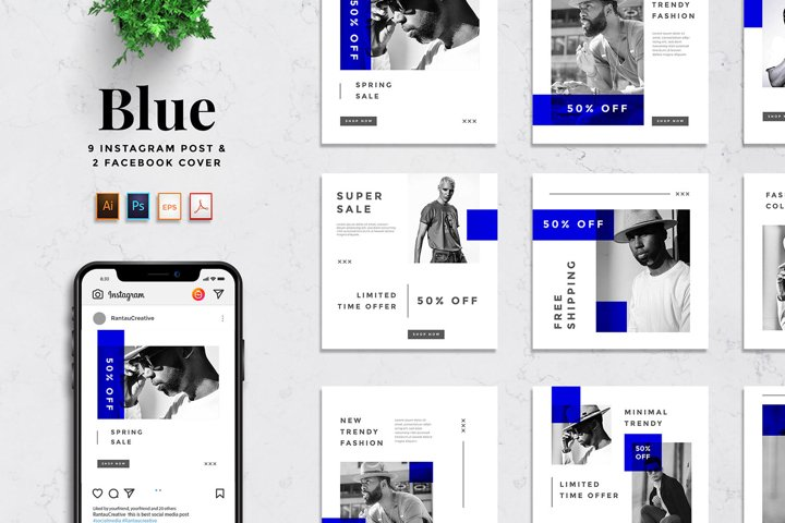 Blue - Fashion Social Media Pack