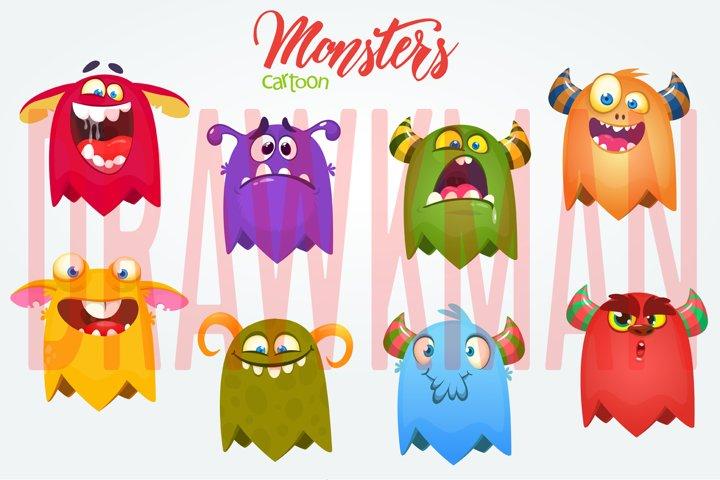 Cartoon monsters ghost. Vector Halloween monsters pack