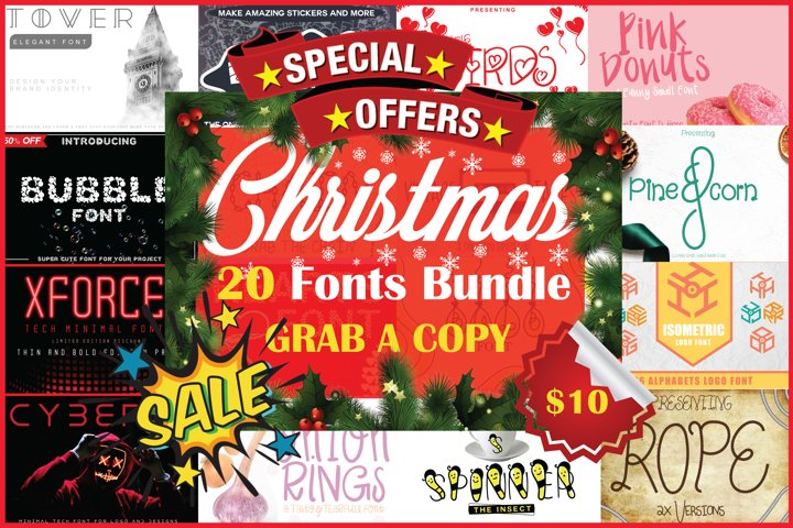 Christmas Fonts Bundle Vol. 2 Pack, 20 Fonts
