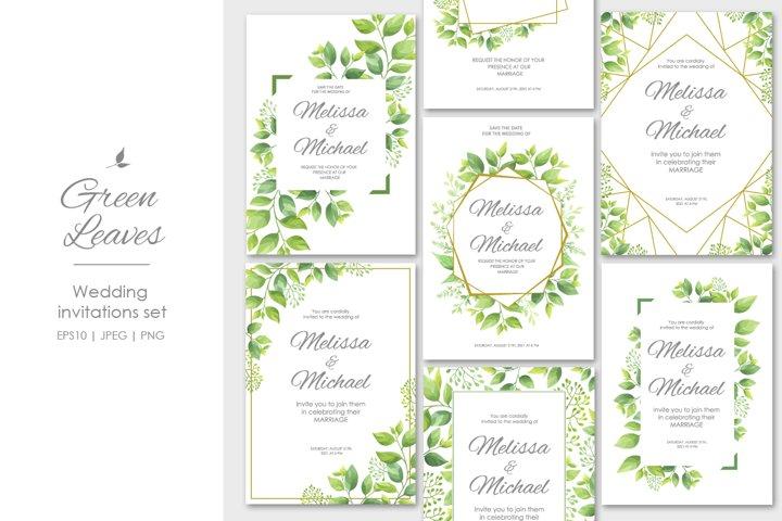 Green leaves wedding invitations set
