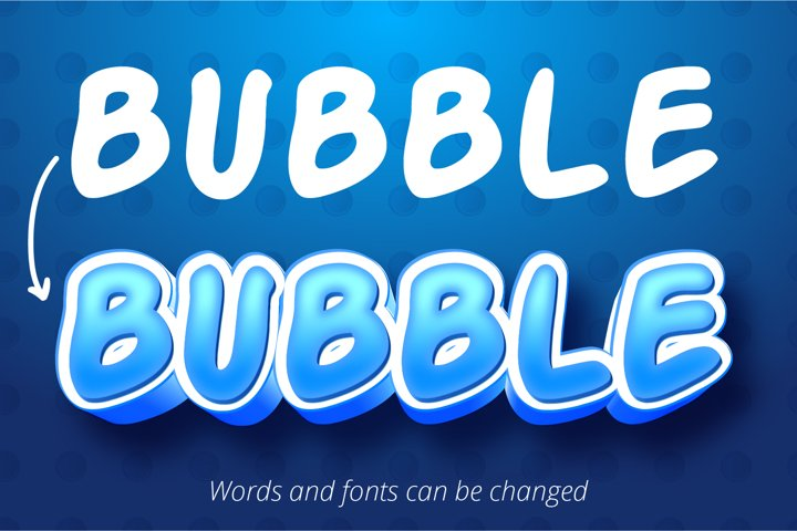 Bubble cartoon style, 3d editable text effect