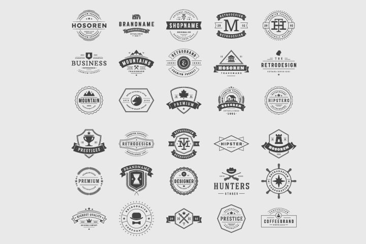 Retro vintage logotypes and badges set typographic design