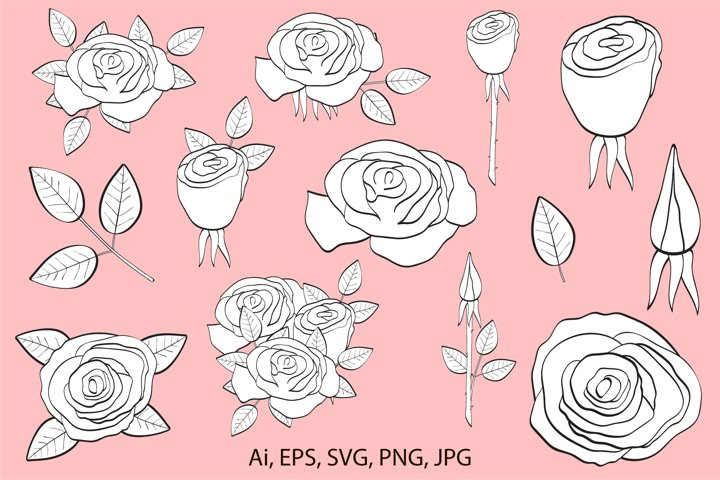 Roses digital stamp, rose coloring, roses clipart