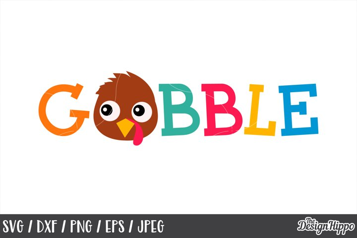 Gobble SVG, Kids Thanksgiving, Turkey Boy, SVG, PNG, DXF