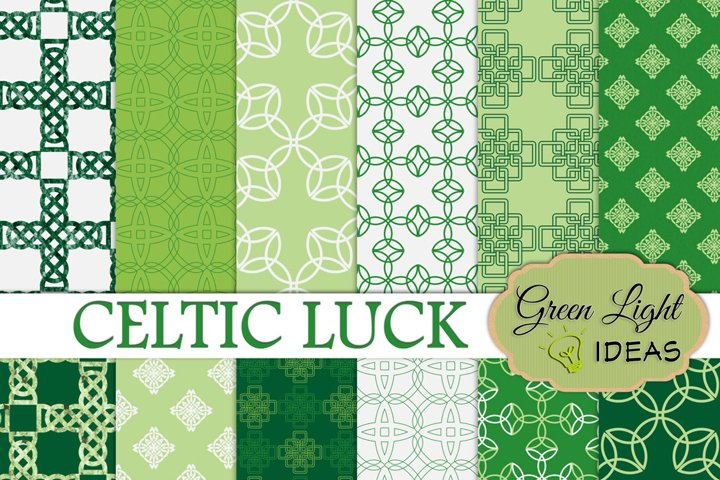 Celtic Digital Papers, St Patricks Day Backgrounds, Irish Papers