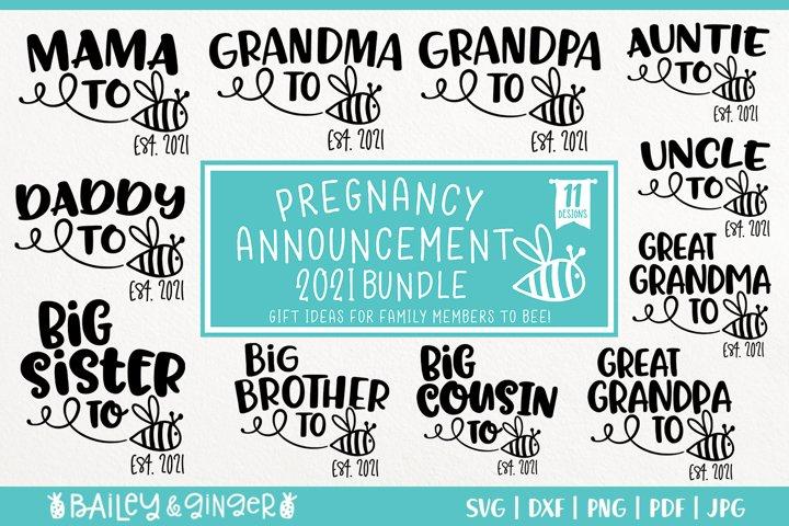 Pregnancy Announcement SVG Bundle - To Bee Est 2021