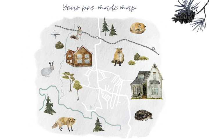 Forest Landscape Map Creator with wild animals and houses