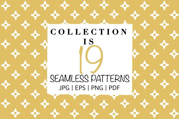 A set of seamless patterns with stars.