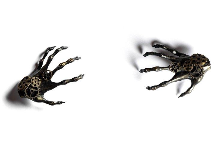 Halloween banner. Black skeleton hands