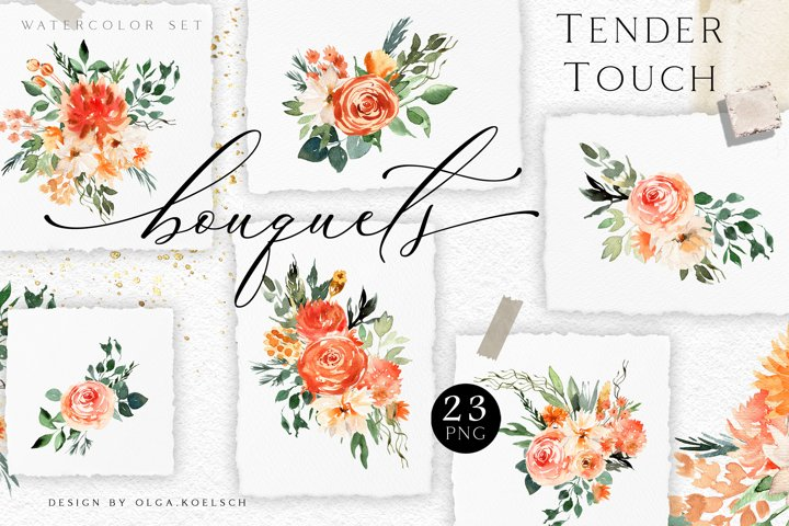 Fall watercolor floral clipart. Peach boho roses clipart