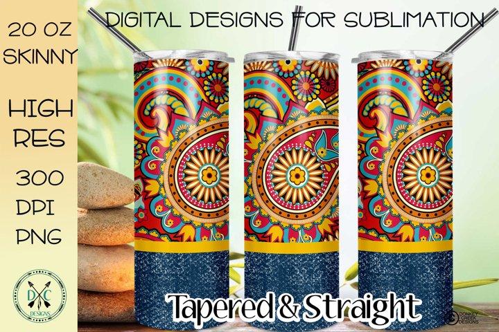 Sublimation Design Tumbler Wrap Skinny tumbler Paisley Denim
