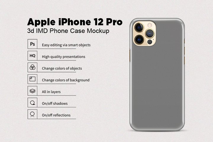 Apple iPhone 12 Pro 3d Phone Case Mockup Back View