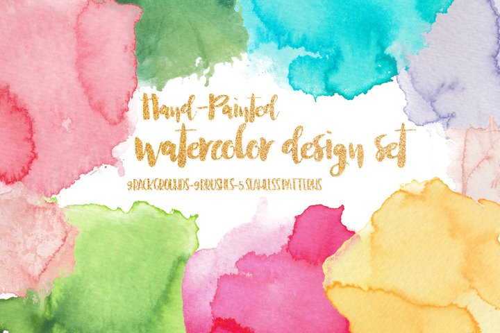 Watercolor Design Set - Backgrounds, Brushes & Patterns