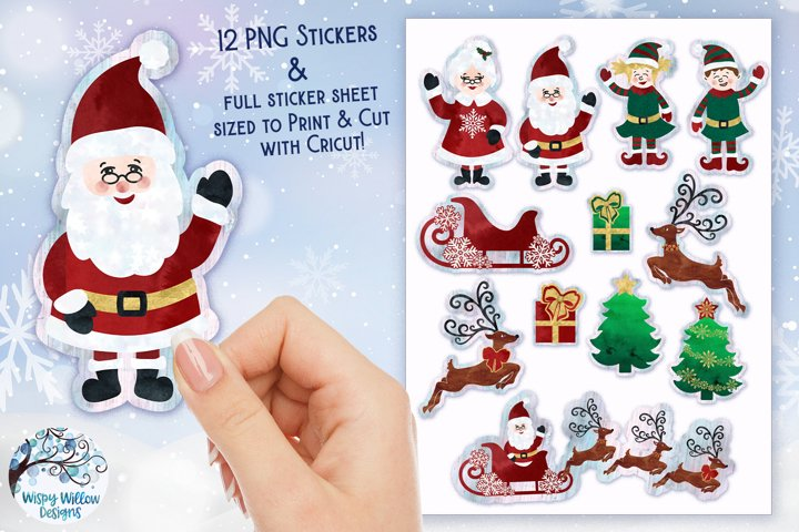 Christmas Watercolor Stickers | Santa Claus Stickers