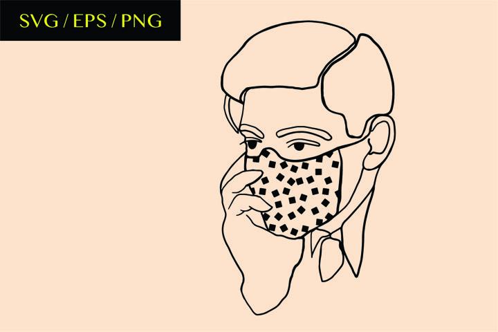Masked man - line art. Modern art -SVG