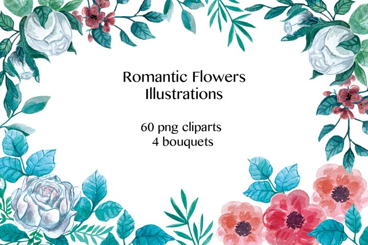 Romantic Watercolor Flowers Illustrations