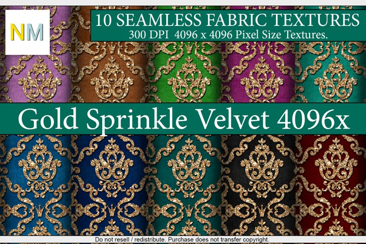 Gold Sprinkle Velvet 4096 10 Seamless Fabric Textures