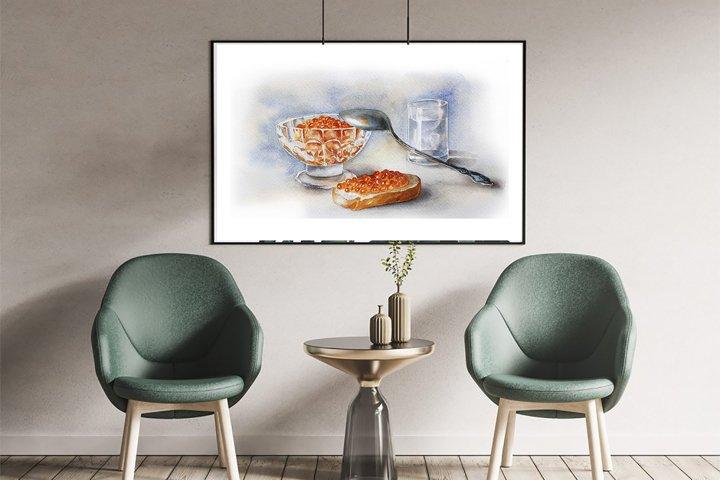 Watercolor poster Print, Caviar Art deco Stil life Birthday