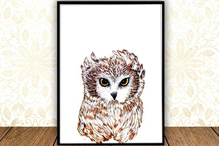 Baby Owl Watercolor digital Print Forest Nursery Art Poster