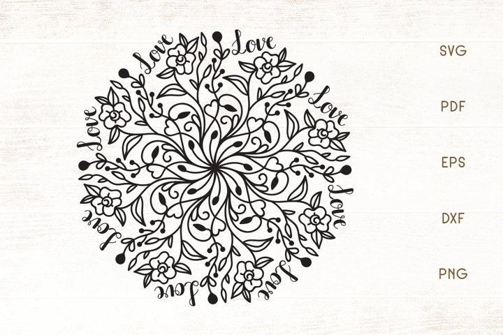 Floral Love Mandala SVG - Floral Mandala