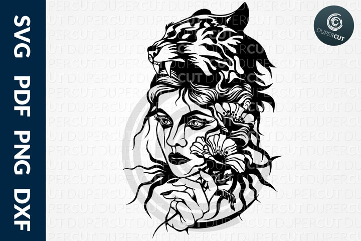 SVG / PDF / DXF Girl with tiger headdress, Cutting Files