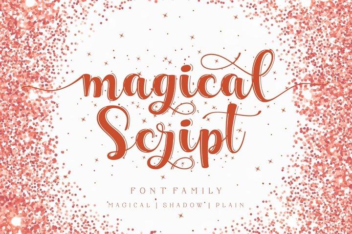 Magical script font family