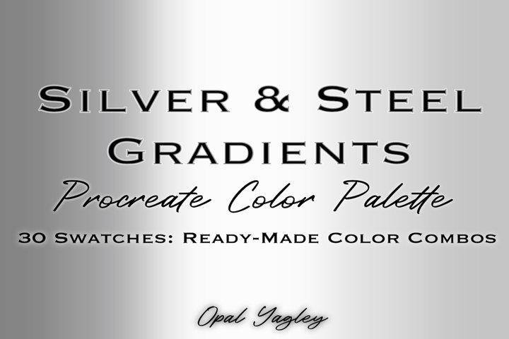 Silver & Steel Gradient Procreate Metallic Color Palette