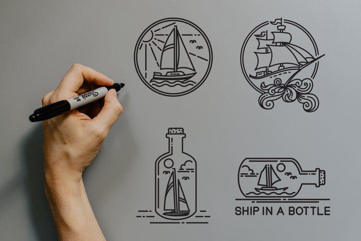 sailboat and ship vector design