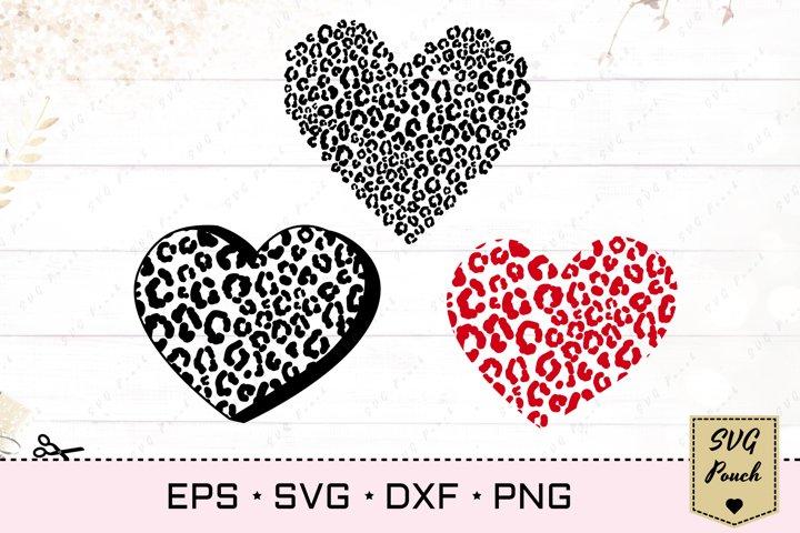 Leopard heart cut file SVG set