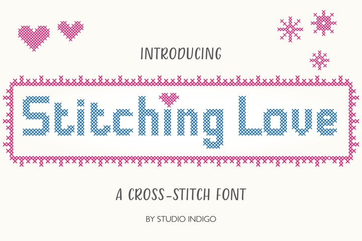 Stitching Love a cross-stitch font