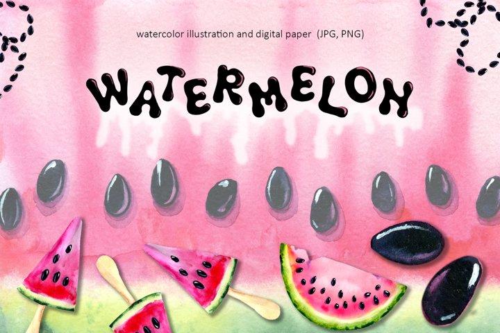 Watermelon. Watercolor illustration. Digital paper, elements