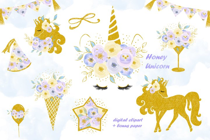 Unicorn clip art, flowers with gold