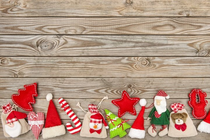 Christmas decoration ornaments on rustic wooden background