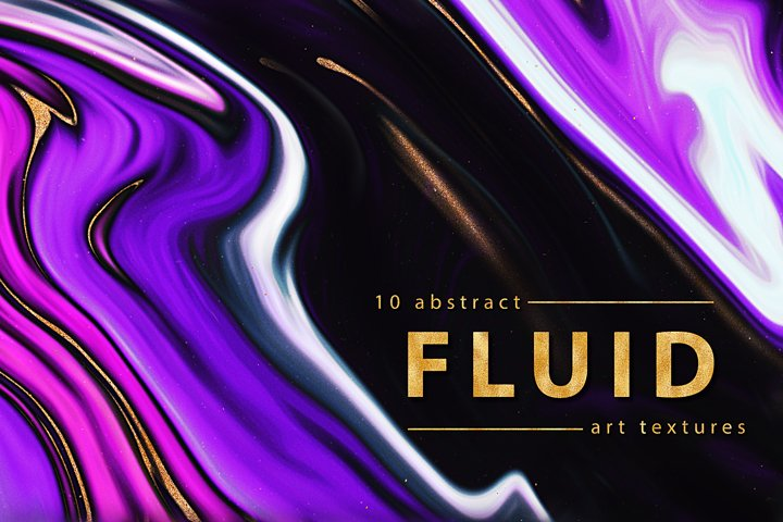 Abstract Fluid Art Paint Textures - Purple & Gold Papers