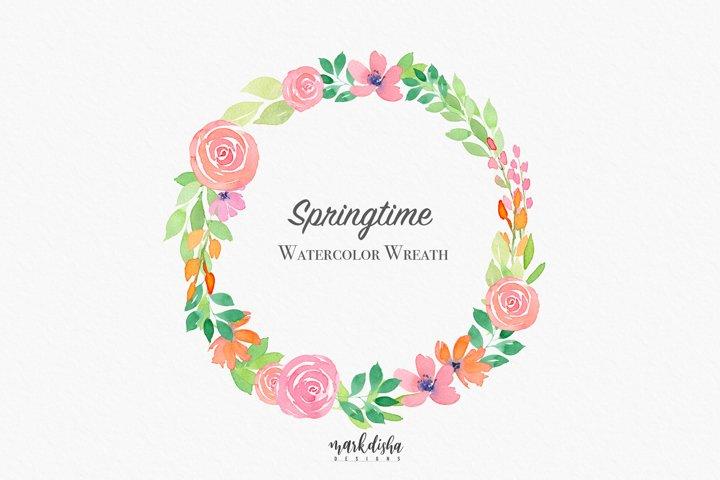 Springtime Watercolor Wreath