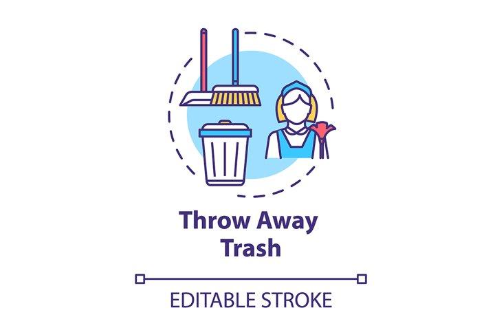 Throw away trash concept icon