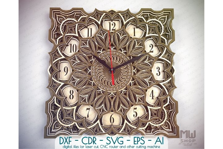 C40 - Wall Clock for Laser cut, Mandala Clock DXF pattern