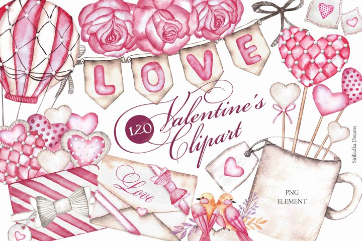 120 Watercolor Valentines Day clipart Hand Drawn graphics