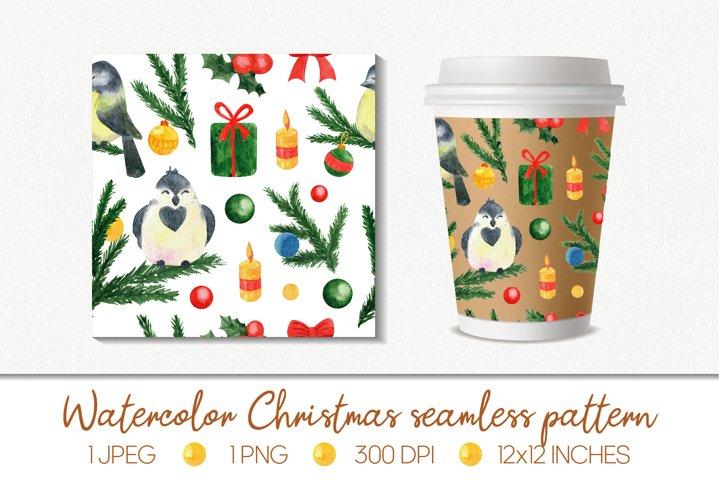 Watercolor Christmas seamless pattern. Digital paper, card