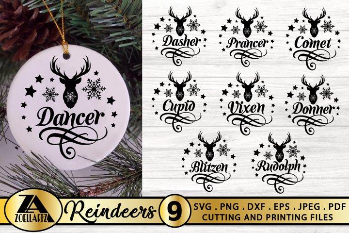 Reindeer Names SVG Christmas Ornament SVG Reindeer Decor SVG