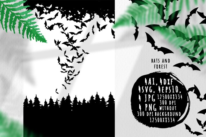Bats and forest silhouettes