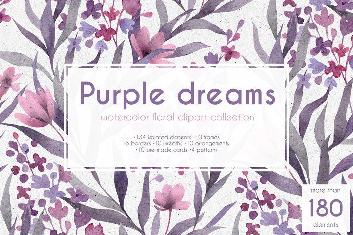 Purple dreams. Watercolor cliparts